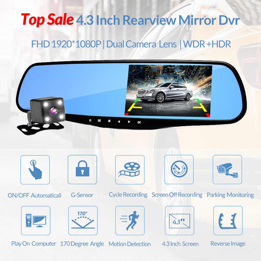 Hot 4,3 Inch Auto Dvr Kamera Rückspiegel Volle HD 1080P Dash Cam Auto Registrator Digital Video Recorder Dual objektiv Camcorder