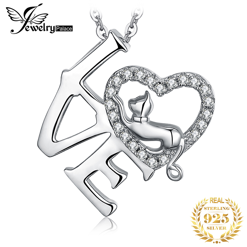 Love Heart Letter Silver Pendant Necklace 925 Sterling Silver Choker Statement Necklace Women Silver 925 Jewelry Without Chain