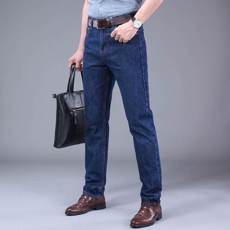 Spring And Autumn Middle-aged Medium Waist Jeans Men Loose Straight Casual Trousers Large Size Dad Pants Men's