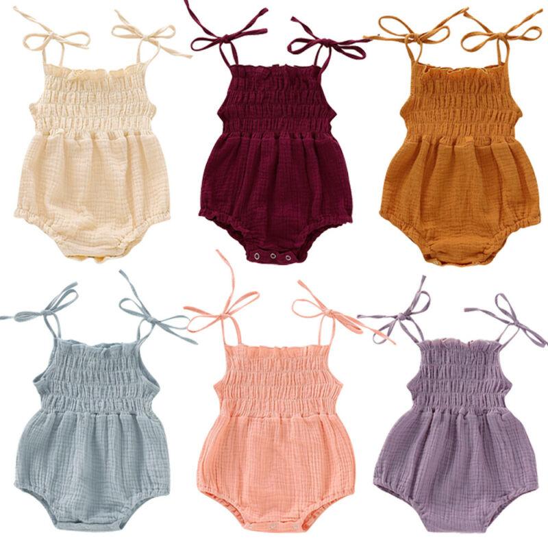 0-18Months New Born Infant Baby Girls Sleeveless Sling Bodysuits Ruffle Cotton Cute Girl Bodysuit Summer Clothes
