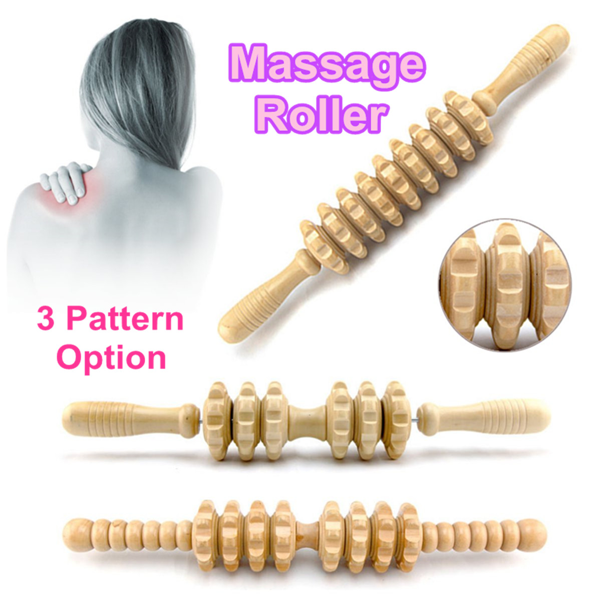 Wooden Massage Roller Stick Body Massage Roller Muscle Soreness Cramping Stress Relief Health Relax Therapy Fitness Yoga Leg Arm
