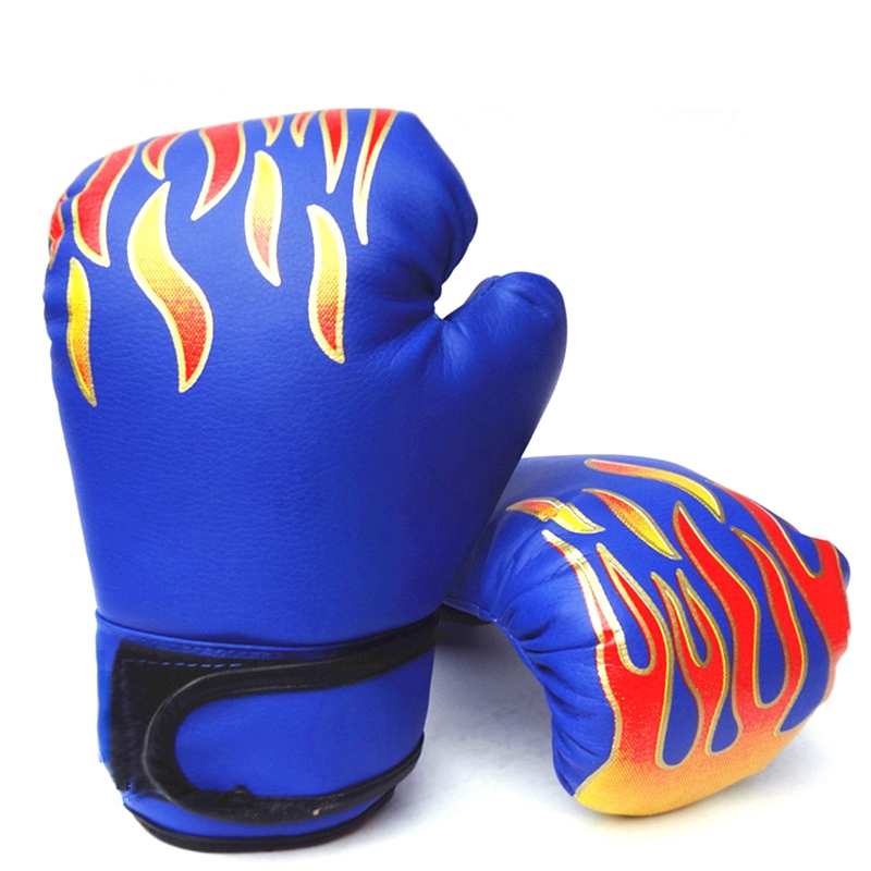Children Boxing <font><b>Gloves</b></font> Karate <font><b>Ufc</b></font> Guantes Boxeo Boxe Boxing Equipment Flame Boxing Set—Blue image