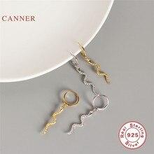 CANNER – boucles d'oreilles serpent en argent Sterling 925 pour femmes, cerceaux en Zircon et diamant, bijoux coréens en or