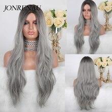 JONRENAU uzun doğal dalga sentetik Ombre koyu kahverengi kül gri peruk beyaz siyah kadın parti kostümü kostümlü oyun saç peruk