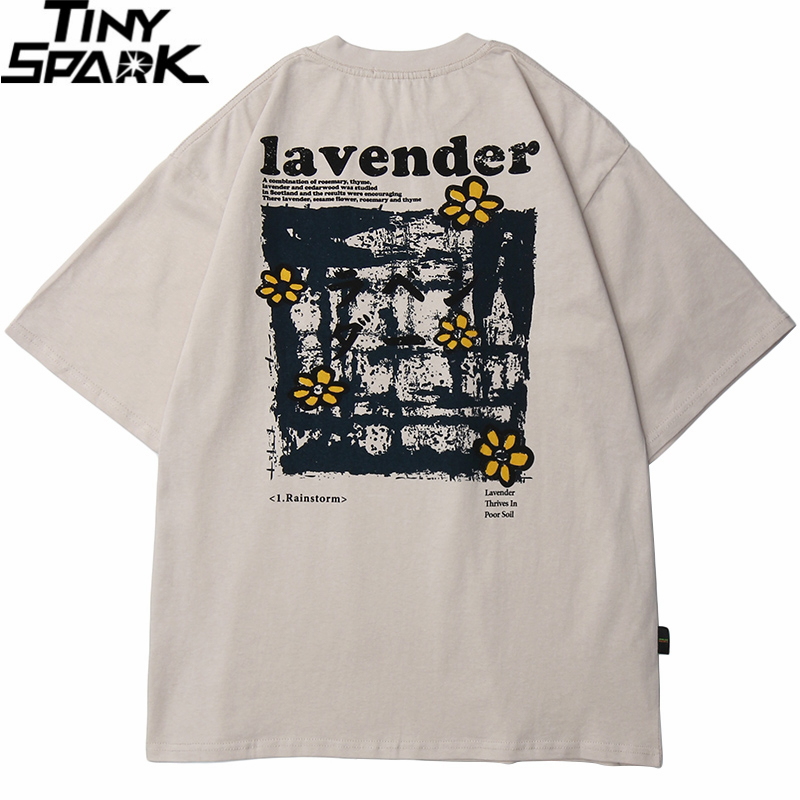 2020 Men Hip Hop   T     Shirt   Streetwear Harajuku Floral   T  -  Shirt   Oversize Summer Short Sleeve Tshirt Loose Cotton Tops Tees HipHop