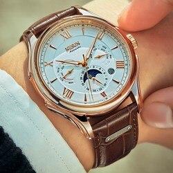 Szwajcarski NESUN automatyczny zegarek mechaniczny człowiek faza księżyca zegarki męskie luksusowe marki świecące ręce Sapphire Waterproor N9030