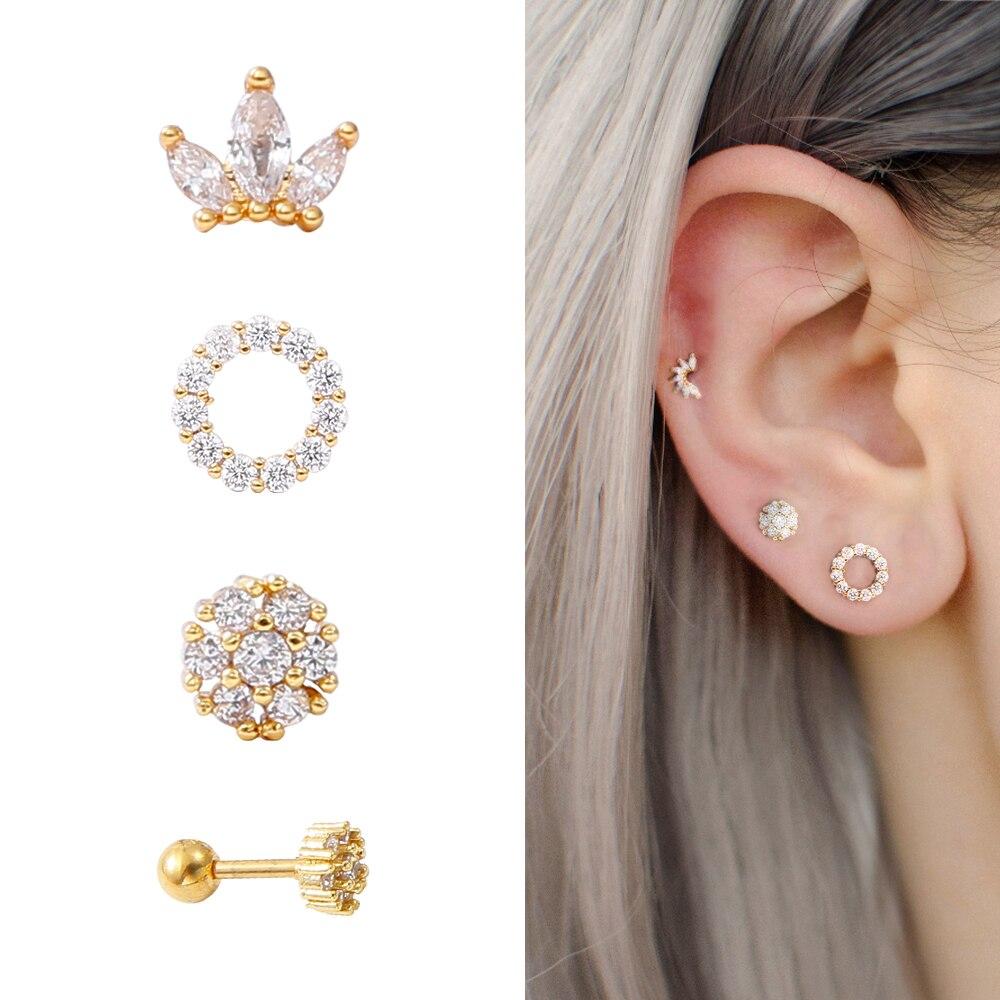New 1 Piece Surgical steel & Copper Cz Crown Long Bar EAR Helix Piercing Tragus Stud Conch Earring Piercing