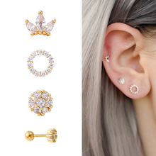Earring Piercing Stud-Conch Tragus Ear Helix Surgical-Steel Copper Cz-Crown Long-Bar