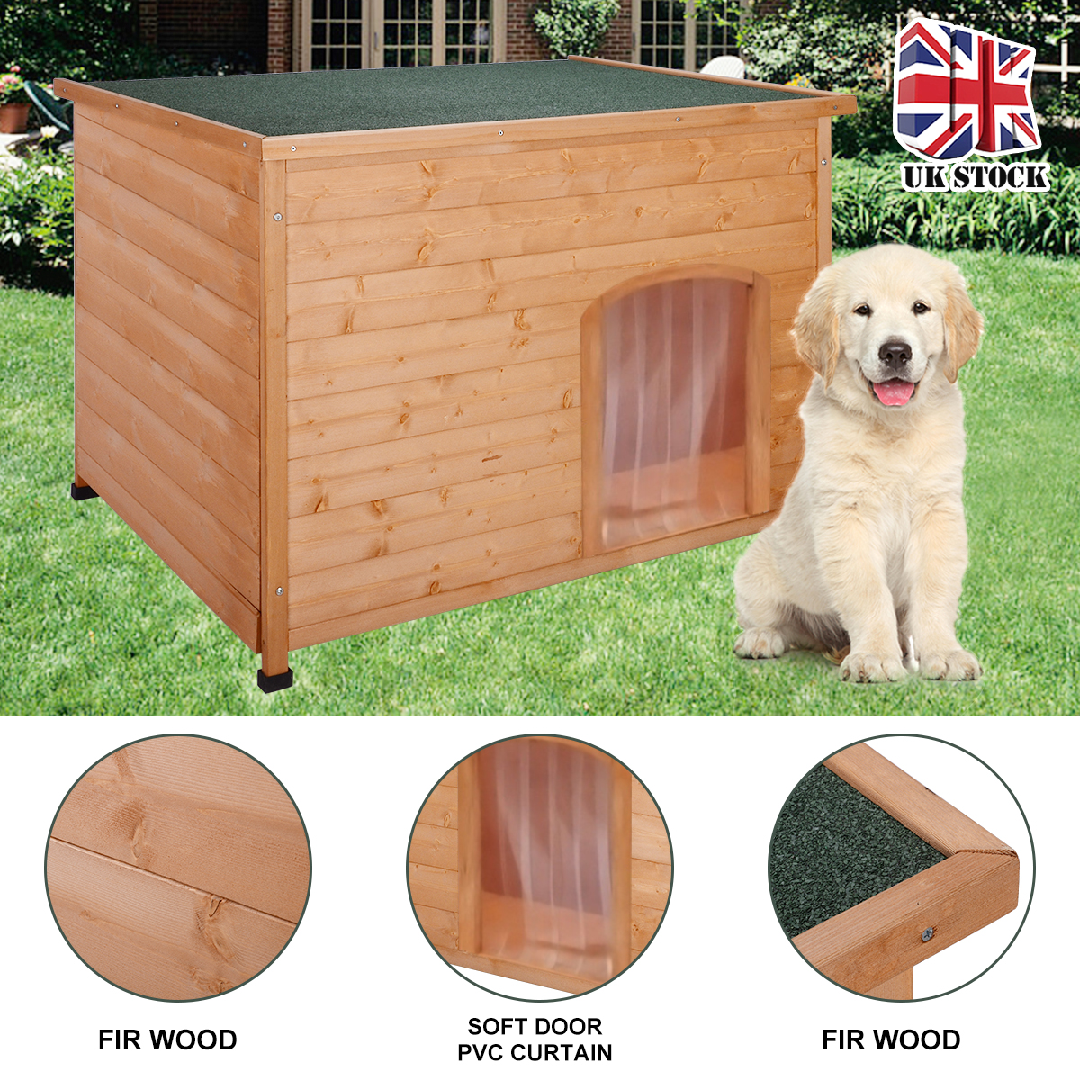 <font><b>Wooden</b></font> Pet <font><b>Dog</b></font> <font><b>Kennel</b></font> Extra Large Wood Sleeping House Puppy Cat Bed Nest Removable Floor Easy Clean 116*79*81cm image