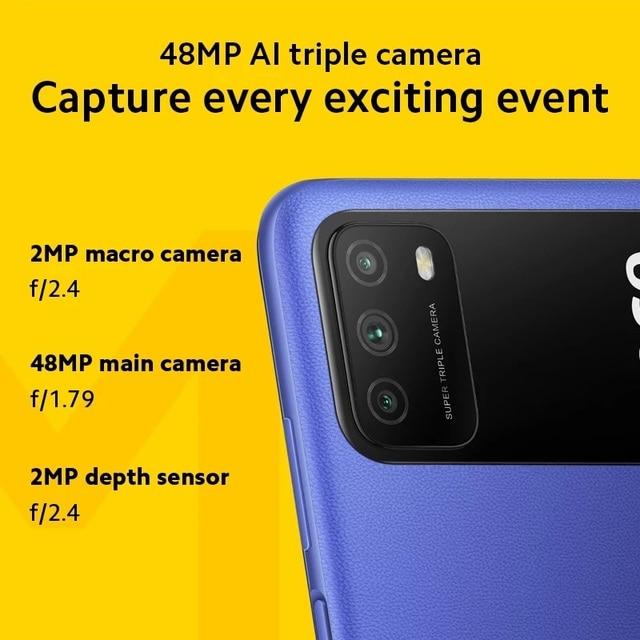 "Global Version POCO M3 4GB 128GB Smartphone Snapdragon 662 Octa Core 6000mAh 48MP Triple Camera 6.53"" FHD+ DotDrop Display 2"