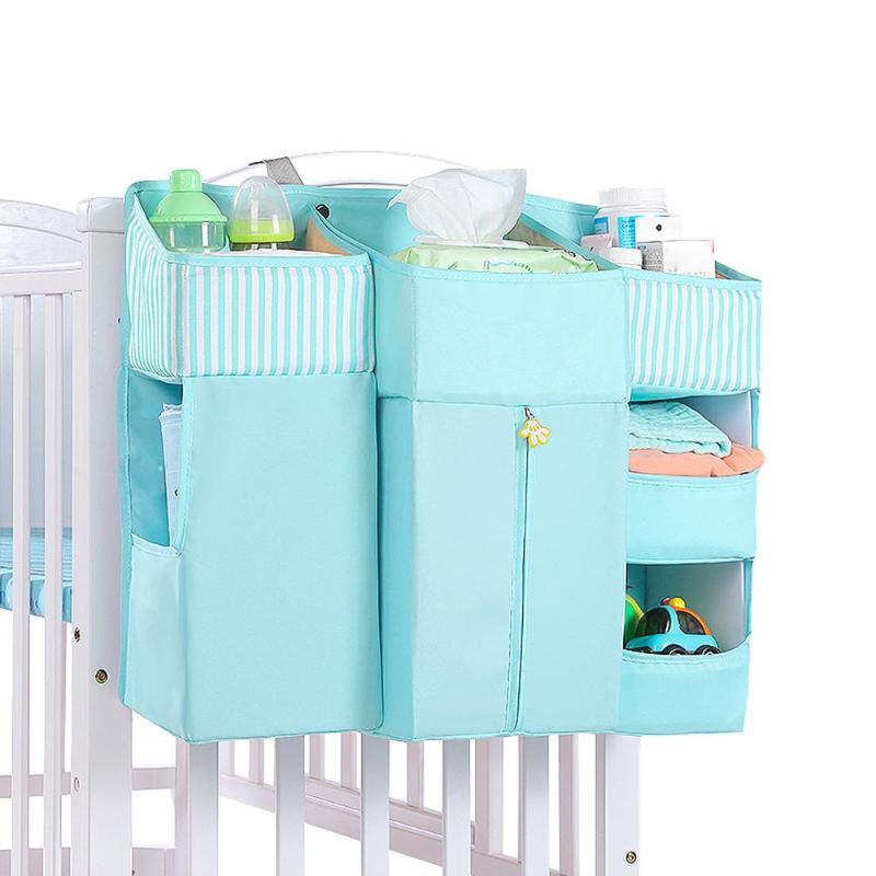 Baby Crib Organizer Bed Hanging Bag Portable Detachable Hollow Board Design Durable Diaper Storage Bedding Supplies
