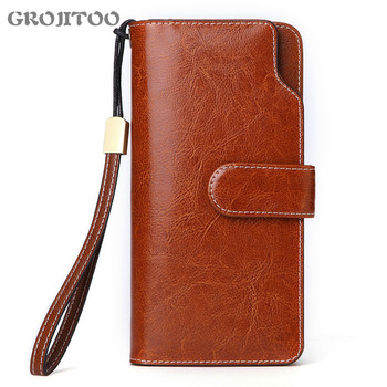 GROJITOO Oil wax cowhide women's wallet long Korean style handbag multi-card genuine - discount item  42% OFF Wallets & Holders
