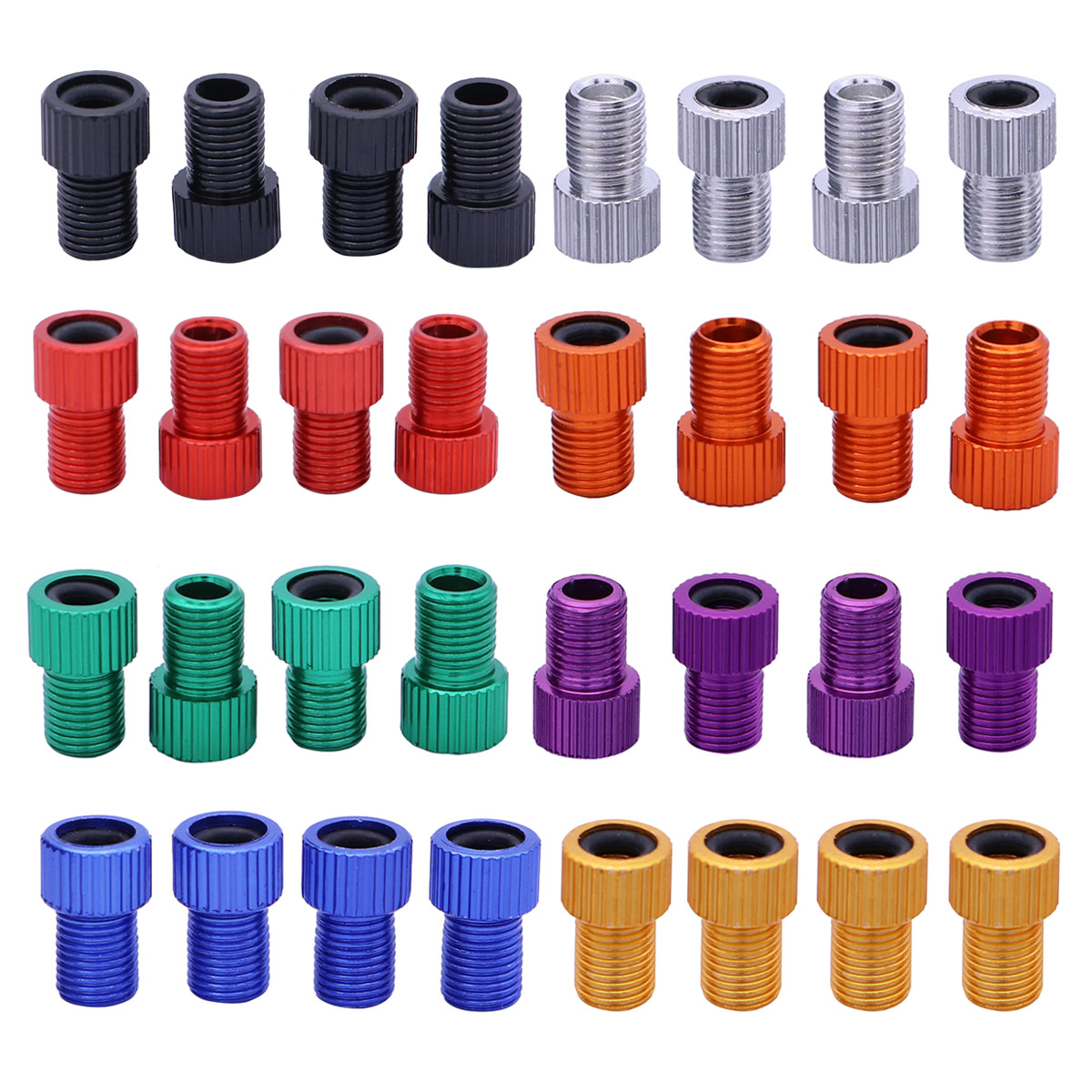 4 PCS Bicycle Aluminum Alloy French Presta To Schrader Valve Adapters Converters MTB Road Bike Mountain Bike Tube Pump