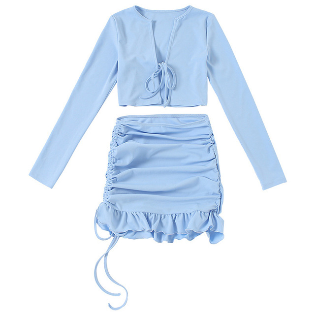 Yimunancy 2- Piece Women Dress Set Lace Up Long Sleeve Crop Top High Waist Ruched Skirt Autumn Ladies Sexy Outfits