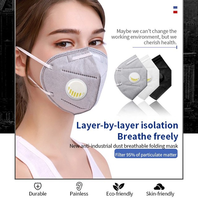 5PCS PM2.5 Anti Air Dust Smoke Pollution Mask Activated carbon filter Windproof Mouth-muffle bacteria proof Flu Face masks Care 2