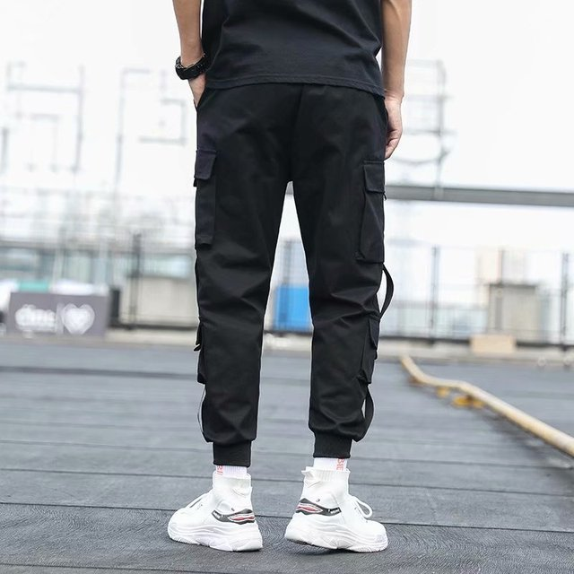 Pantalones Cargo de harén con bolsillos laterales para hombre, pantalón negro de Hip-Hop, informal, a la moda, ropa de calle, 2020 cintas 4