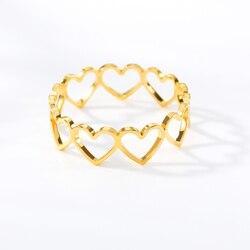 Delikli Kalp Şekli Açık bağlantı Halkası Altın Minimalist Kalp Glamour Kadın Ayarlanabilir Yüzükler Bijoux Femme Moda mücevher