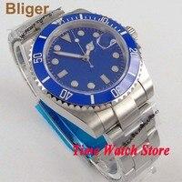 40mm Bliger Miyota 8215 Automatic wrist watch men sapphire glass blue dial super luminous ceramic bezel date waterproof