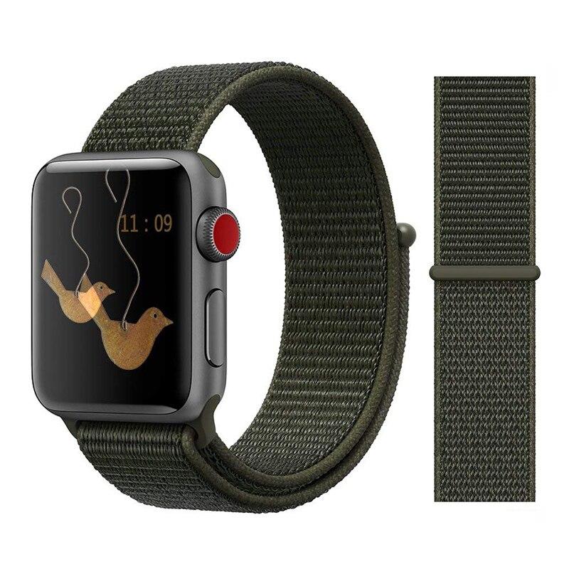 Для наручных часов Apple Watch, версии 3/2/1 38 мм 42 мм нейлон мягкий дышащий нейлон для наручных часов iWatch, сменный ремешок спортивный бесшовный series4/5 40 мм 44 мм - Цвет ремешка: Color17 cargo khaki