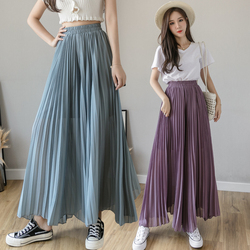 New Solid Color Wide Leg Pants Women Chic Pleated Elastic High Waist Loose Trousers Summer Casual Flowing Chiffon Pants