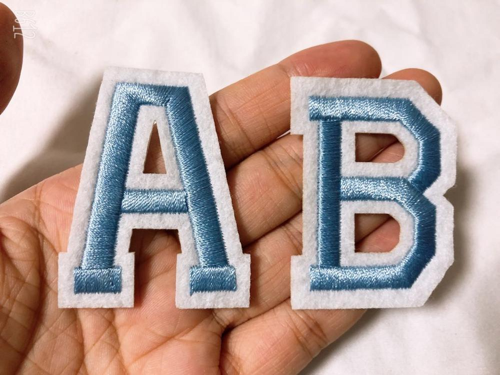 Light Blue Letters Patch Alphabet Embroidered Applique  Letters Iron On Patches