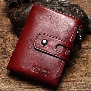 Image 5 - Portefeuille en cuir véritable pour femmes, porte monnaie court pour femmes, porte monnaie mode rouge, sac carte, petit loquet pour filles, Mini pochette de haute qualité