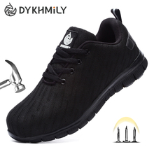 DYKHMILY Steel Toe Safety Shoes for Men Women Anti-puncture Lightweight Breathab