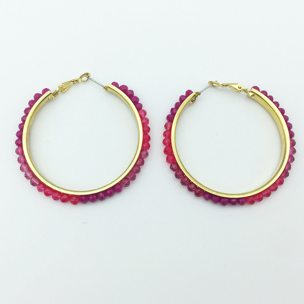 H958a831f66474166aebcf865cd70e7b3W - Personalized trendy red bead metal hoop earring fashion hot selling popular earring for women