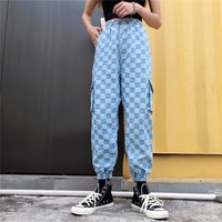 Casual High Waist Pockets Cargo Jeans Vintage Women Harem Pants Plaid Pants High Street Elastic Waist Loose Trousers