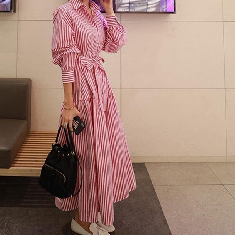 RealShe 2019 robe Vintage femmes revers boutons à manches longues robe dames printemps automne élégant robes décontractées Vestidos - 4
