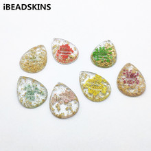 New arrival! 33x24mm 50pcs Real Flower in Resin Drop Charm for Earrings parts,Jewelry