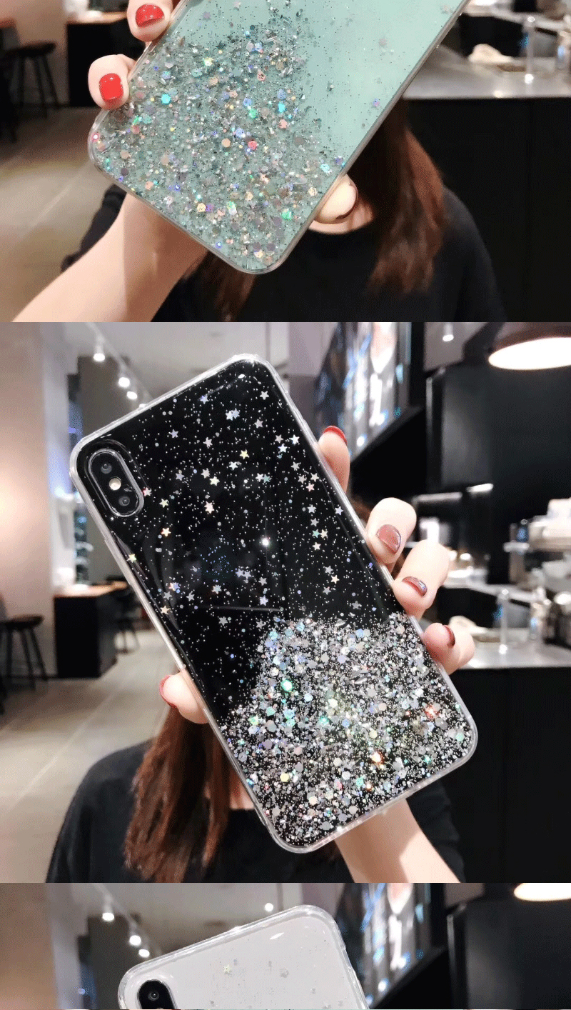 H958aa65f3a304bc2b3a1f74bab8881d5Y - Solid quicks Case For iphone 11 8 7 Plus 6 6s Glitter Bling Sequins Epoxy Star Case For iphone 11 Pro MAX X XR XS Soft TPU Cover