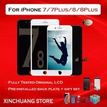 Qualidade original lcd para iphone 7 substituição da tela com toque 3d com ferramentas sem pixel morto para 5 7 plus 8 plus