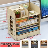 7 Layers Cosmetics Organizer Makeup Storage Box Wooden Storage Box Drawer Saving Space Box Drawer with Tissue Holder for Home