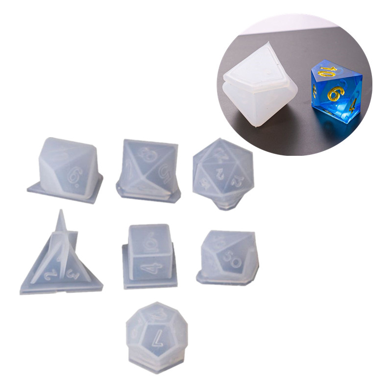 7 Shapes Dice Fillet Square Triangle Dice Mold Crystal Epoxy Resin Mold Kit Dice Digital Game Silicone Mould Art Jewerly Making