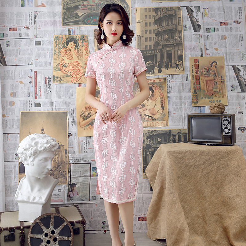 A Generation Of Fat 2019 Spring And Summer New Style Improved Cheongsam Lace One Piece Long Skirts Slim Fit Retro Elegant Fashio