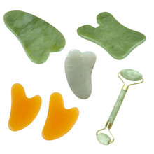 2 In 1 Green Roller And Gua Sha Tools Set By Natural Jade Scraper Massager With Stones For Face Neck Back And Jawline Hand Tools