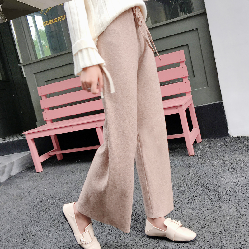 2019 autumn winter new THICK casual straight pants women female drawstring loose knitted wide leg pants casual Trousers 21