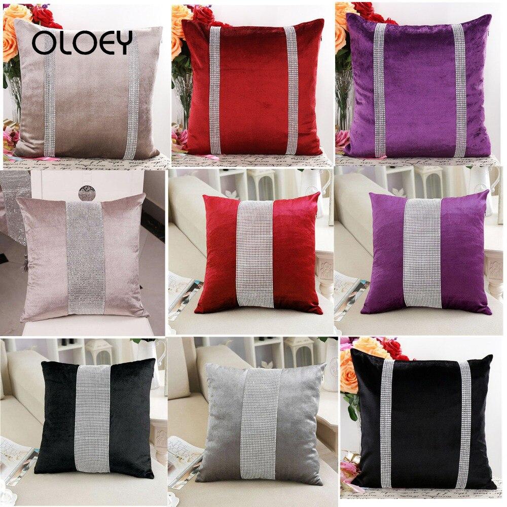 45X45cm Luxury Velvet Fabric Diamond Pillowcase Rhinestone Pillowcase Decoration Pillowcase Home Bedroom Hotel Decoration    ...