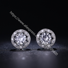 Round cubic zircon Halo Stud Earrings white Gold color Plated Hypoallergenic Halo CZ Dia-mond Earrings Round Halo Stud Earrings