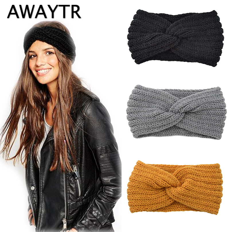 AWAYTR Knitted Knot Cross Headband For Women Autumn Winter Girls Hair Accessories  Headwear  Elastic Hair Band Hair Accessories