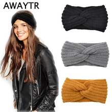 AWAYTR Knitted Knot Cross Headband for Women Autumn Winter Girls Hair Accessories  Headwear Solid Color Elastic