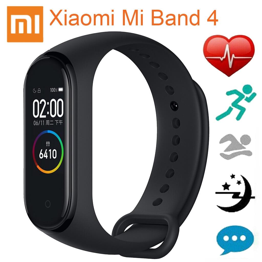 Black Xiaomi Mi Band 4 AMOLED Color Screen Wristband BT5.0 Fitness Tracker Smart Wristbands