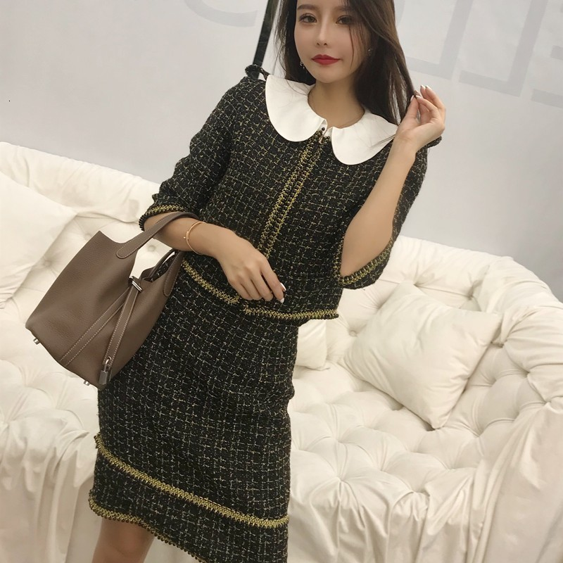 New Elegant Women Two Piece Set Short Tweed Jacket Sexy Bodysuit Strapless Dress Office Ladies Outfits Plaid Spliced Party Suits