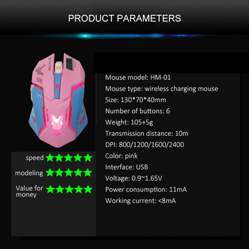 Pink Wireless Computer Gaming Mouse Rechargeable Optical Mice 2400 DPI Ergonomic USB Cute PC Gamer Office Mause For Girls Purple 4