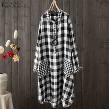 ZANZEA Women Mid-calf Shirt Dress 2021 Autumn Vintage Ladies Lapel Vestidos Fashion Casual Plaid Robe Longue Plus Size 5XL