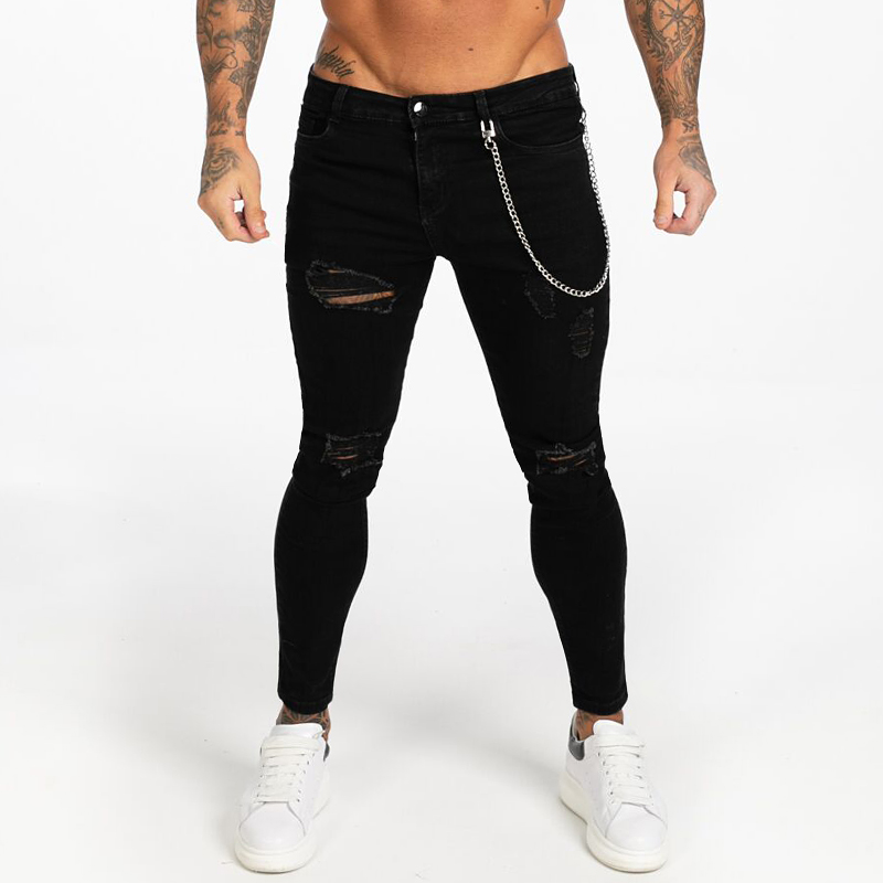 Gingtto Black Skinny Ripped Jeans For Men Super Spray On Ankle Tight Middle Waist Fashion Streetwear Style Denim Pants Male Zm04