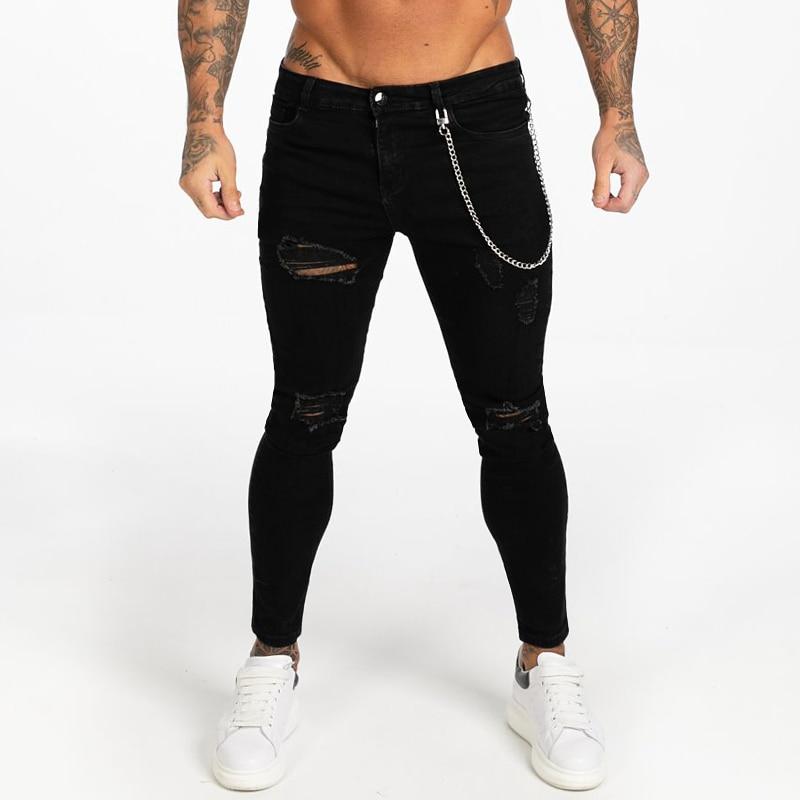Gingtto Zwarte Skinny Ripped Jeans Voor Mannen Super Spray op Enkel Strakke Midden Taille Fashion Streetwear Stijl Denim Broek Mannelijke zm04-in Spijkerbroek van Mannenkleding op AliExpress - 11.11_Dubbel 11Vrijgezellendag 1