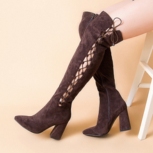 Women Slim Boots Sexy Over The Knee Block High Heels 9.3CM Genuine Leather Flock Lace Up Winter Thigh V543-301