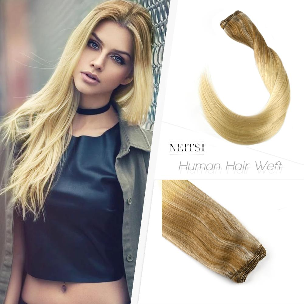 Neitsi Straight Double Drawn Remy Human Hair Weave Extensions 20